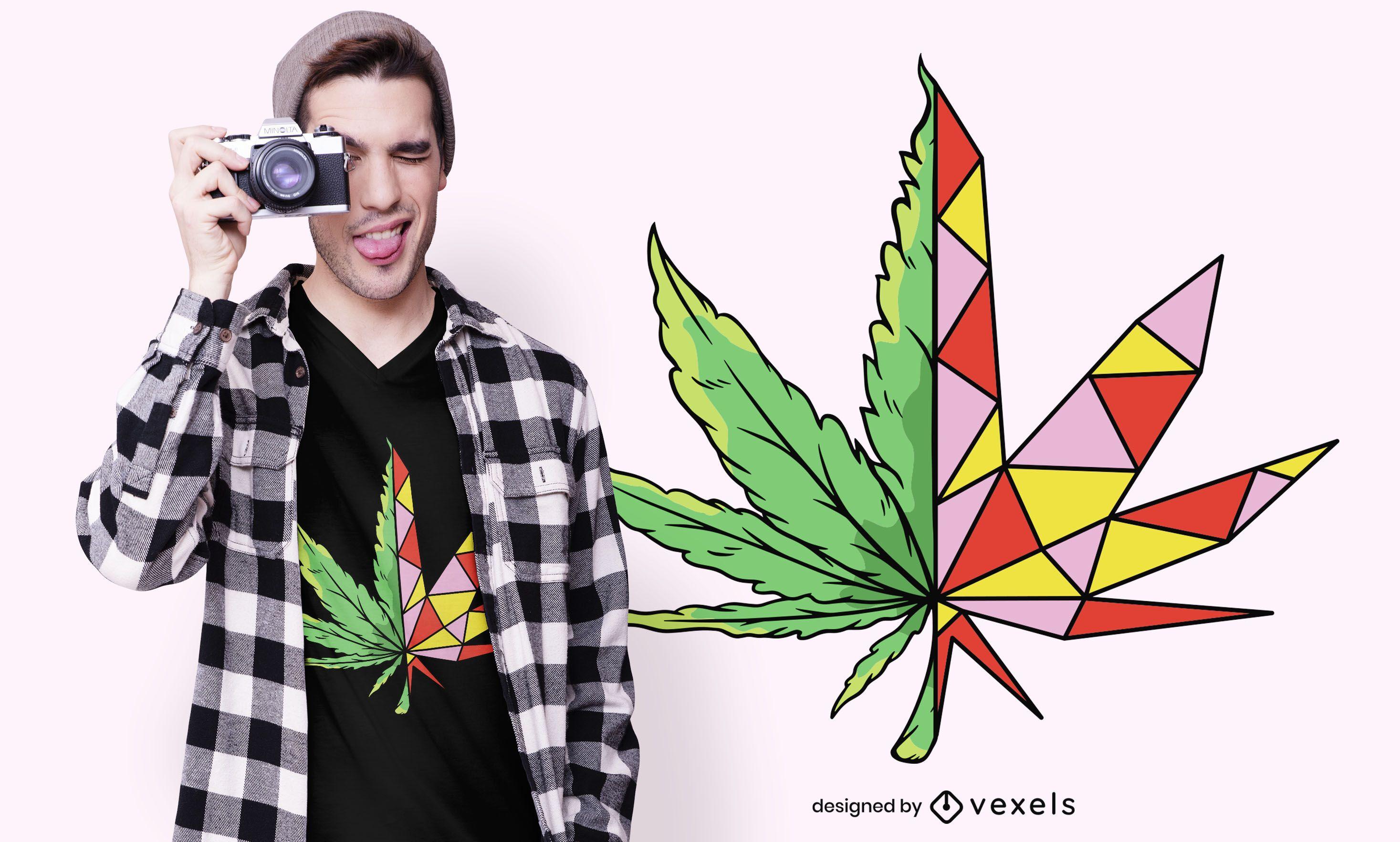 Diseño de camiseta de hoja de cáñamo geométrica