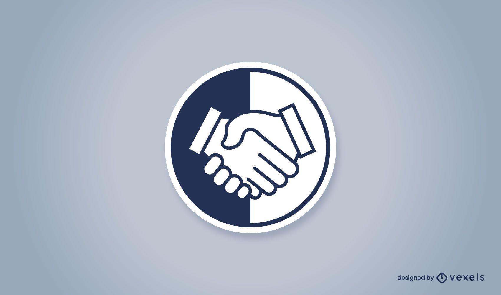 Diseño de logotipo de insignia de apretón de manos