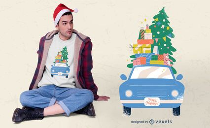 Diseño de camiseta de coche navideño.