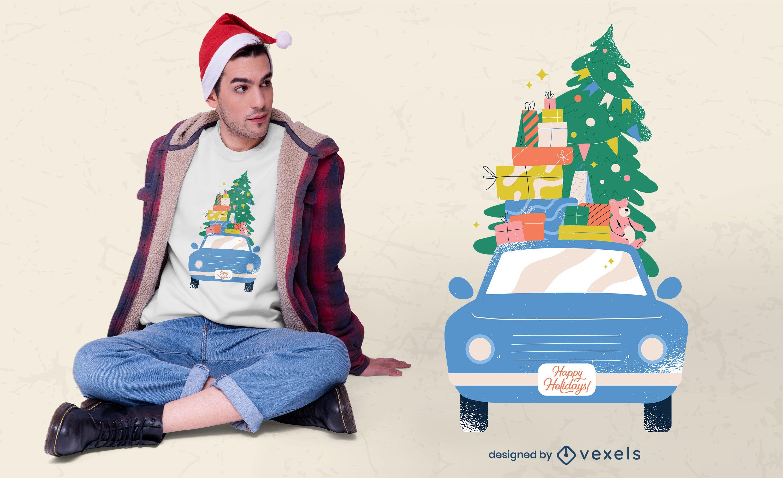 Christmas car t-shirt design