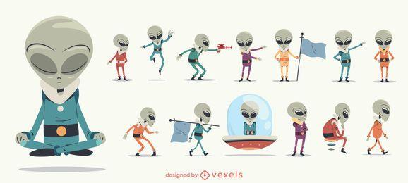 Conjunto de personagens alienígenas