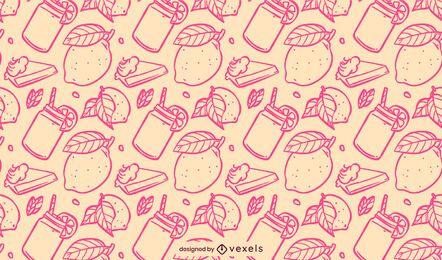 Desenho de padrão de limão rosa