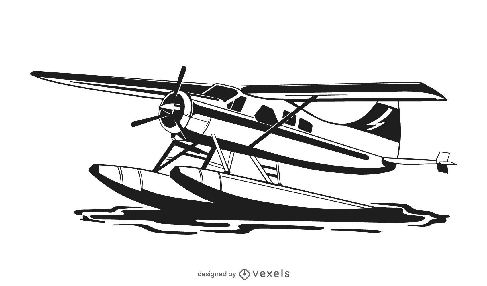 Diseño de ilustración de avión de hidroavión