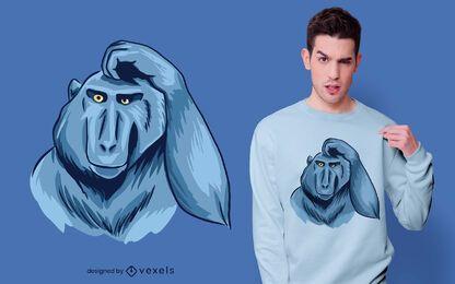Design de camiseta de macaco coçando a cabeça
