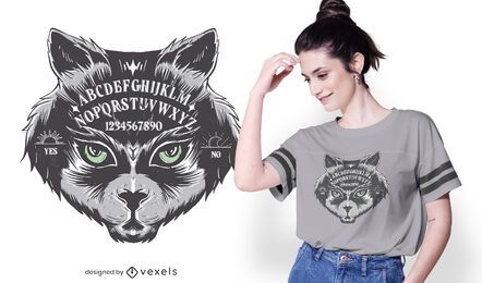 Diseño de camiseta Ouija Board Cat