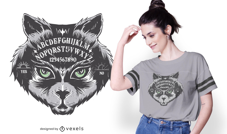 Design de t-shirt de gato de tabuleiro Ouija