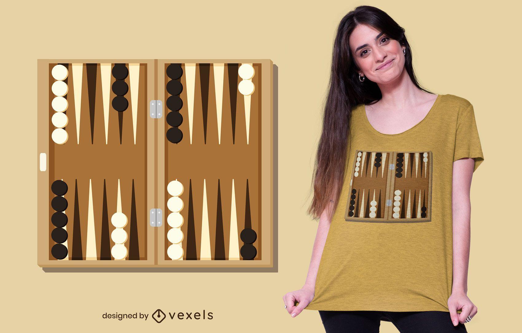 Diseño de camiseta de tablero de backgammon