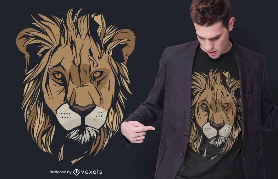 Diseño de camiseta grunge cabeza de león
