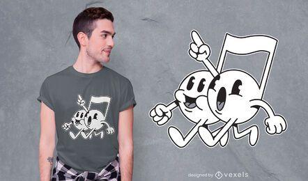 Diseño de camiseta de dibujos animados de notas musicales.