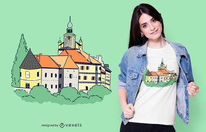 Diseño de camiseta de castillo alemán