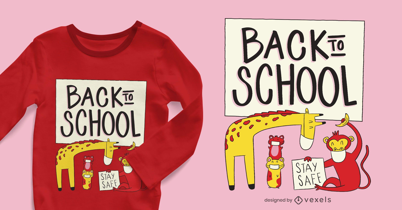 Design de camisetas de animais de volta à escola