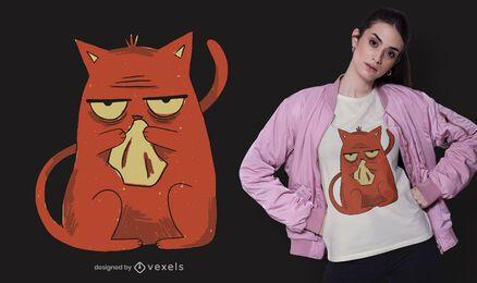 Design de t-shirt de gato doente