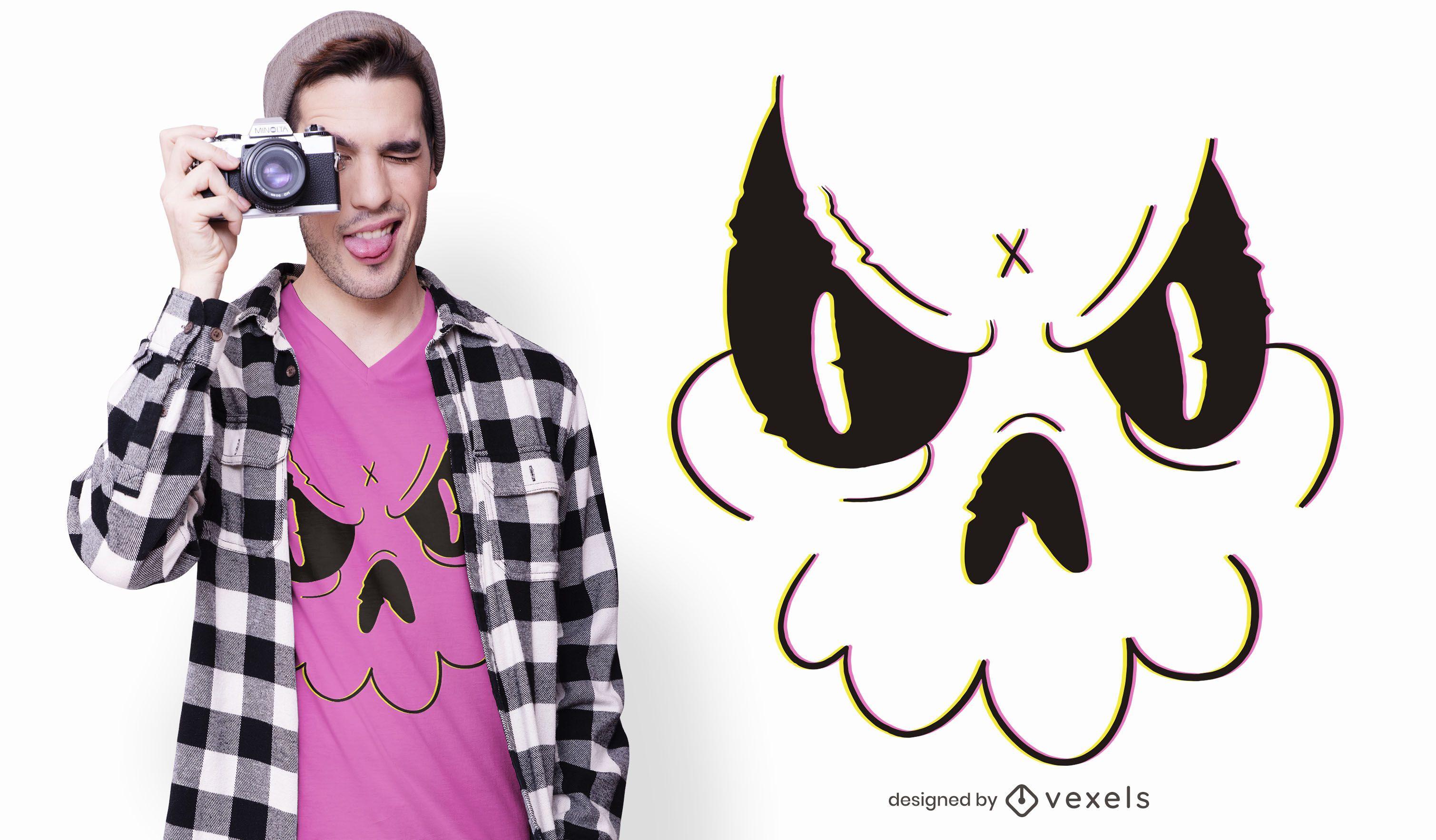 Design de t-shirt do doodle do crânio