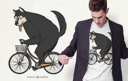 Schwarzer Wolf Fahrrad T-Shirt Design