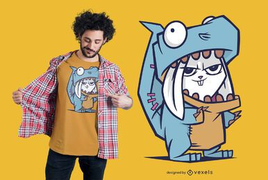 Design de camiseta de dinossauro coelho