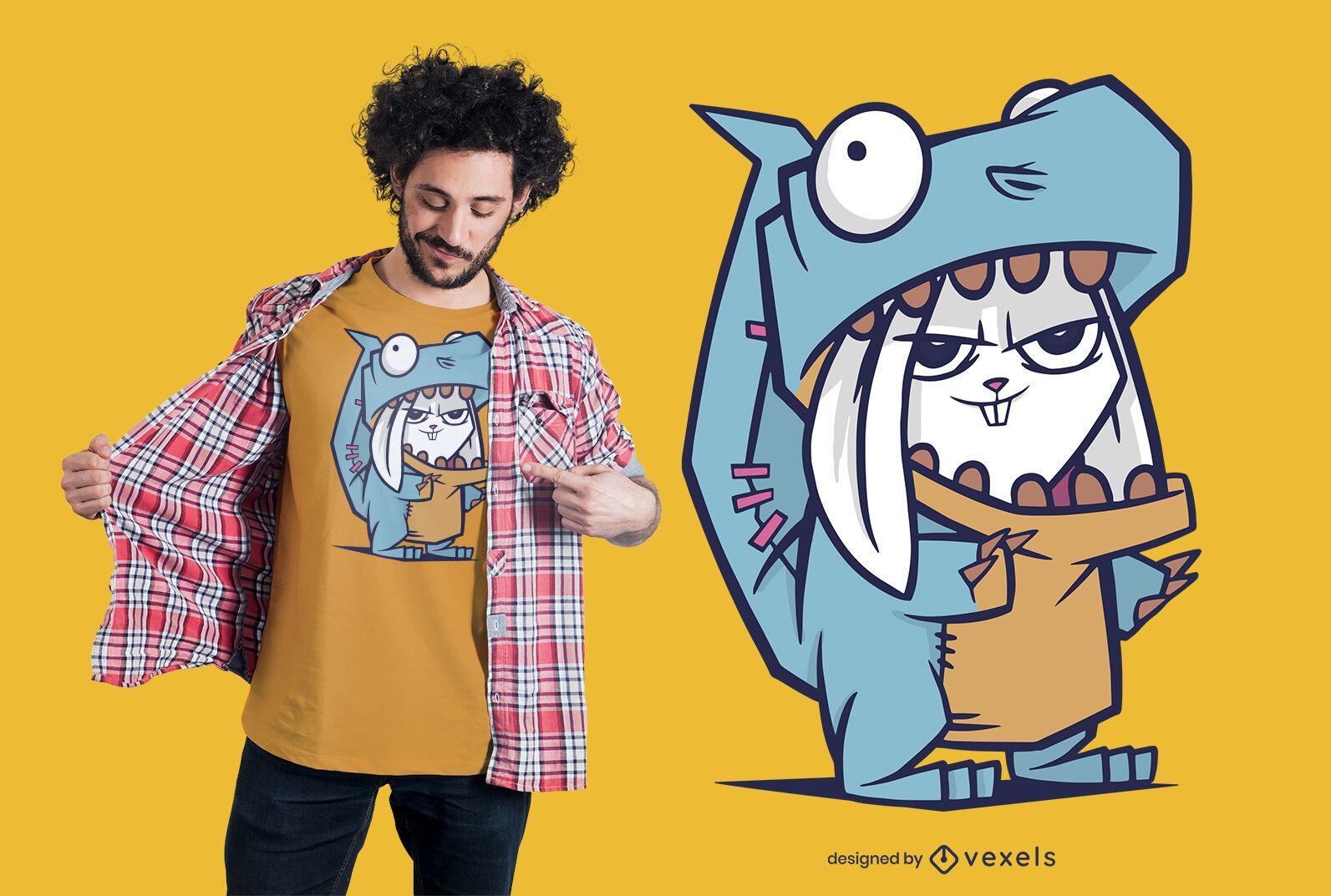 Rabbit Dinosaur T-shirt Design