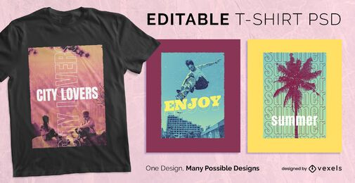 Design de t-shirt com texto múltiplo psd