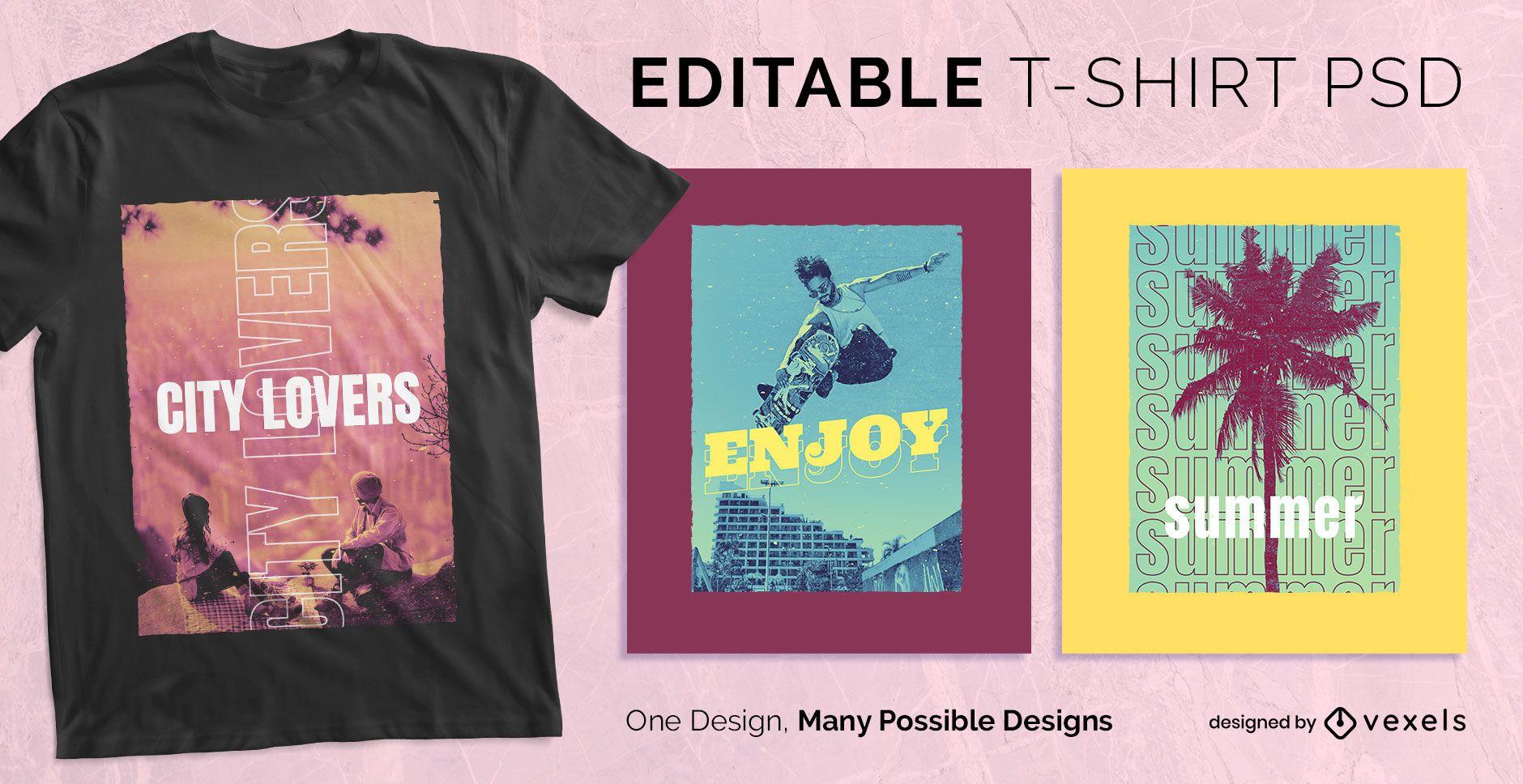 Multiple text t-shirt design psd