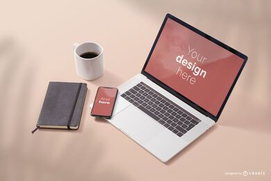 Electronic devices screen mockup composition