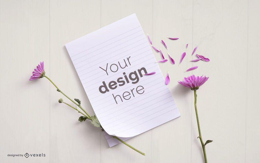 Flower paper mockup composition