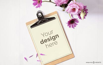 Clipboard flower mockup composition
