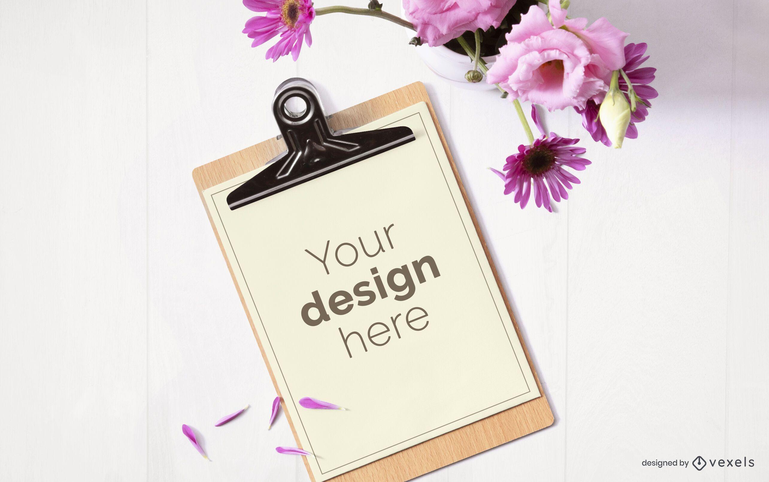Clipboard flower mockup composition