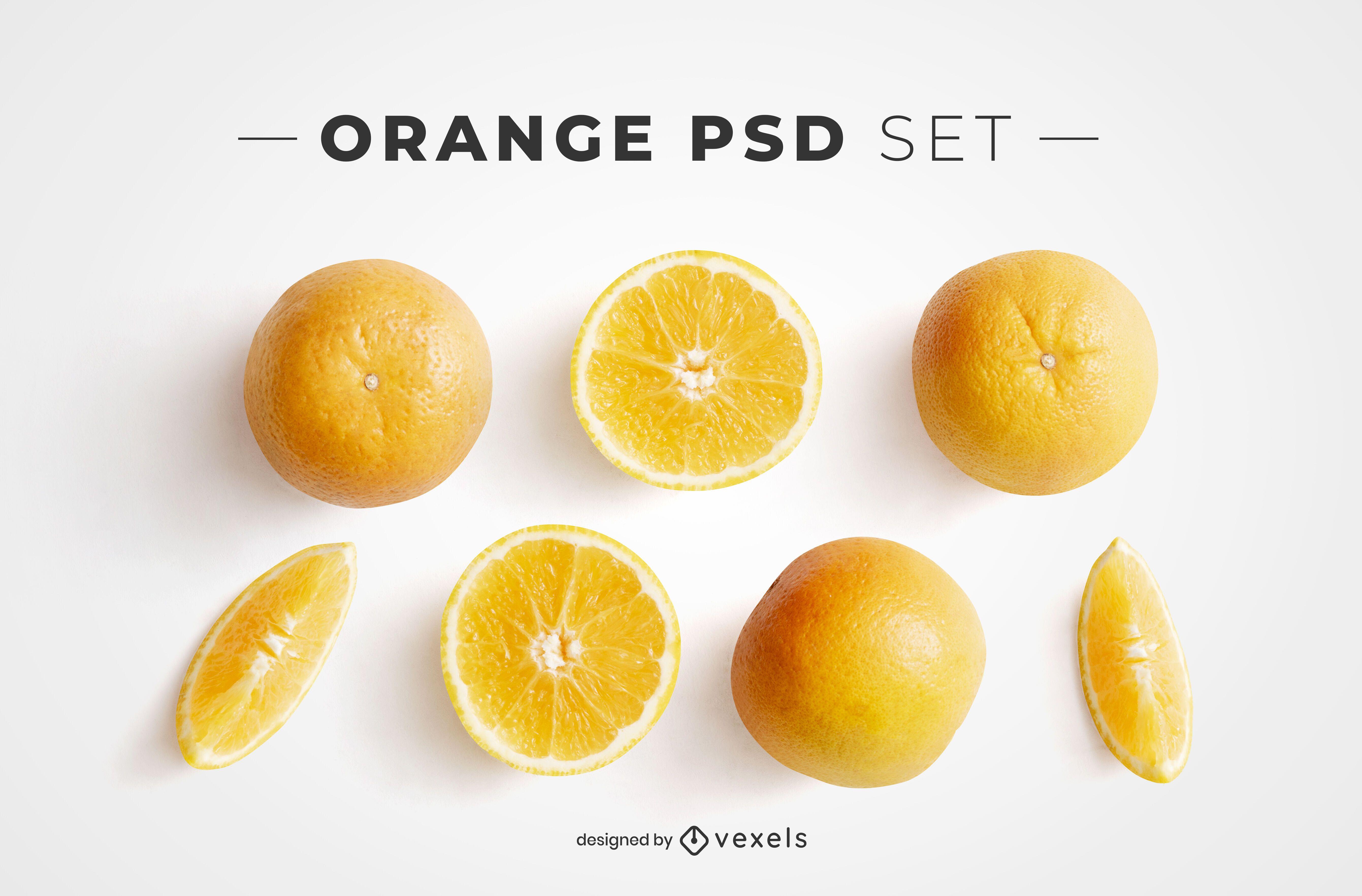 Orange psd elements for mockups