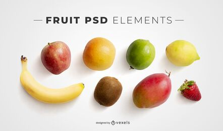 Elementos psd de frutas para maquetas.