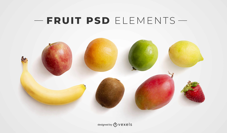 Fruits psd elements for mockups