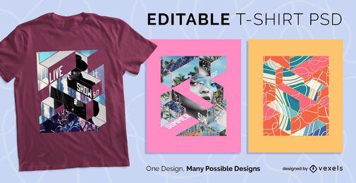 Camiseta geométrica escalable psd