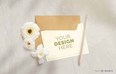 Greeting card flower mockup composition