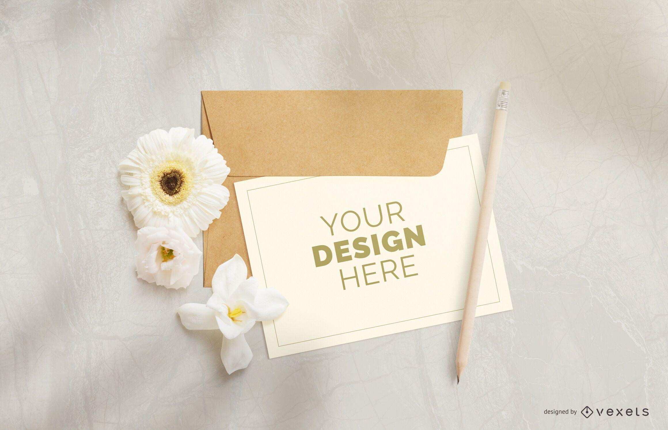 Greeting card flower mockup composition
