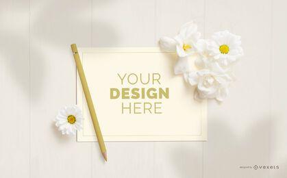 Composição de maquete de flores para cartão comemorativo