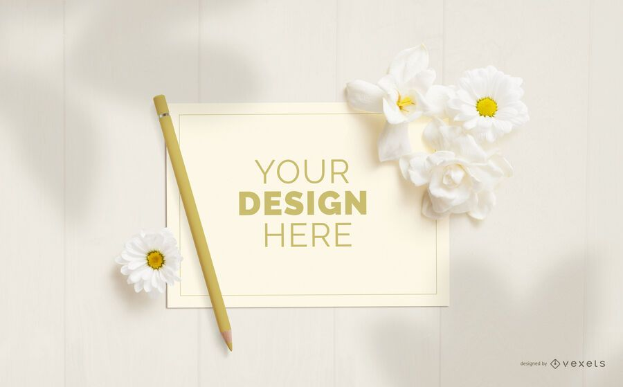 Greeting card flowers mockup composition