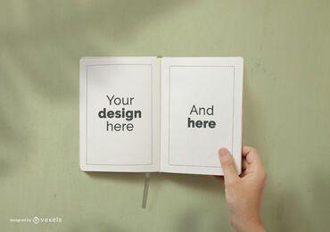 Design de maquete de páginas de caderno