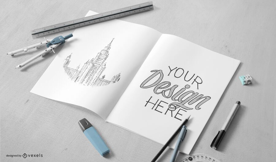 Drawing paper mockup composition