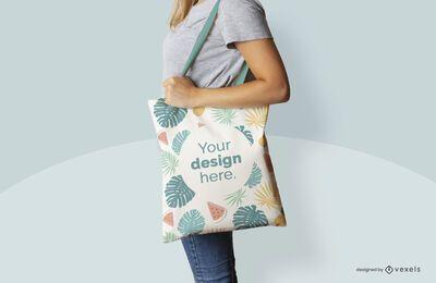Mockup-Design der Sommer-Einkaufstasche