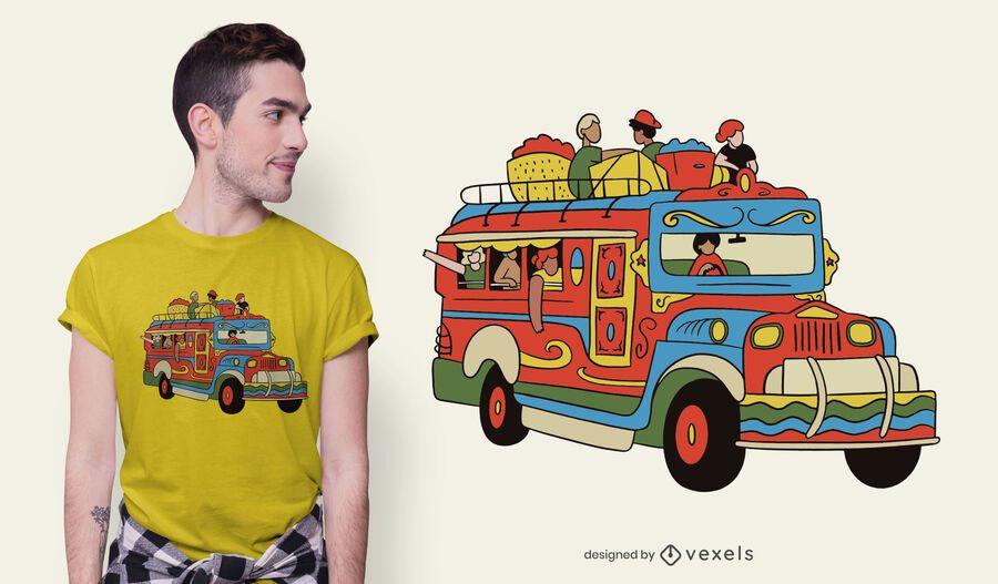 Design de camisetas do carro Jeepney