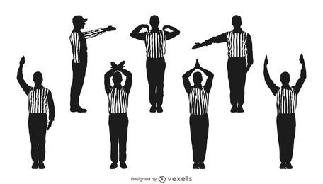 Conjunto de silhueta de árbitro de futebol americano