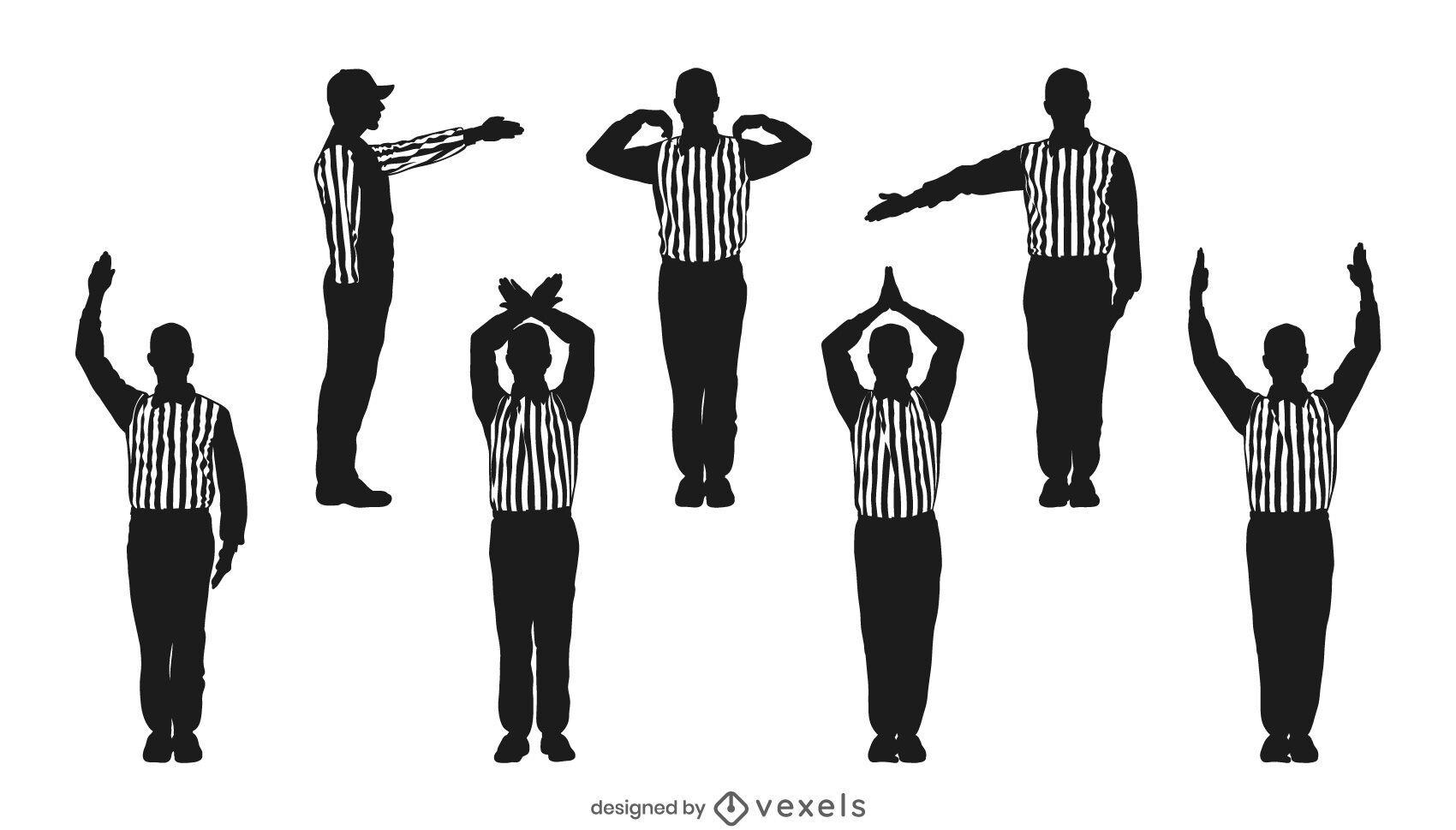 Conjunto de silueta de árbitro de fútbol americano