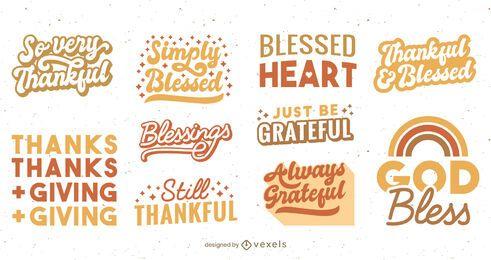 Conjunto de letras de acción de gracias
