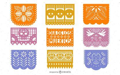 Pacote de Design do Dia dos Mortos Papel Picado