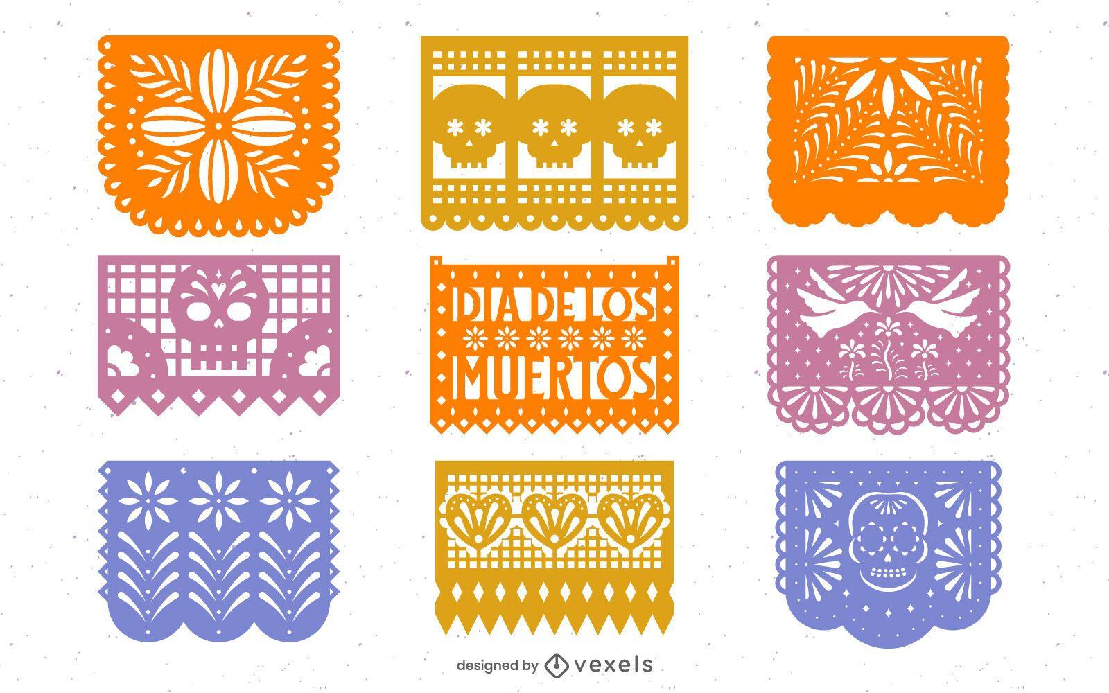 Paquete de diseño de Papel Picado del Día de los Muertos