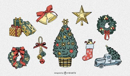 Detailed christmas elements set