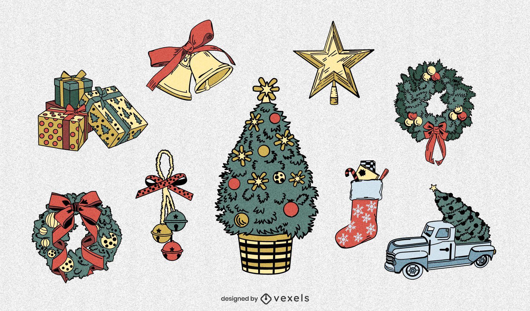 Conjunto detallado de elementos navideños