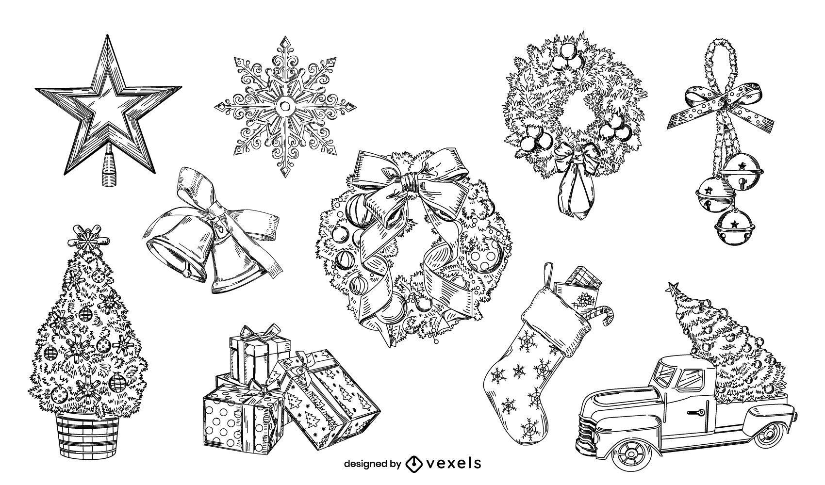 Conjunto de elementos de Natal desenhados ? m?o