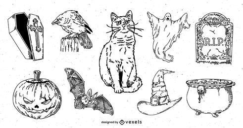 Conjunto de elementos de halloween desenhado à mão