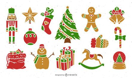 Flat christmas elements set