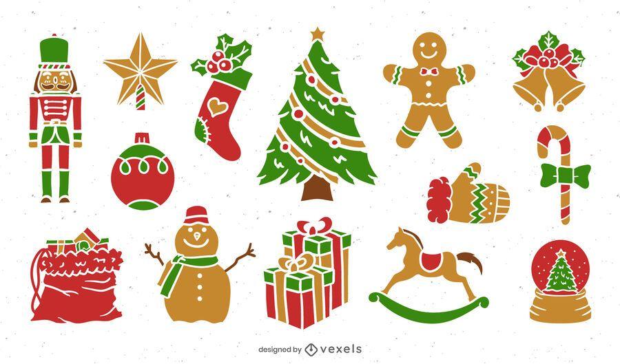 Flat christmas elements set