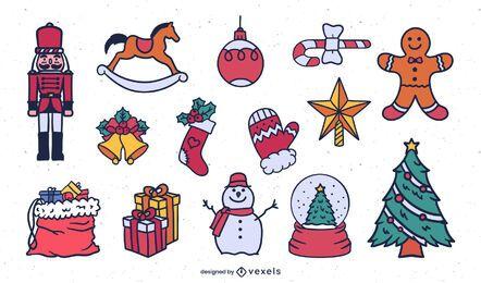 Conjunto de ilustración simple de elementos navideños
